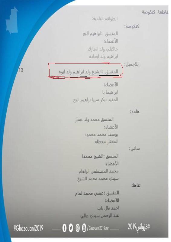المذكرة التي تتضمن تعيين الدكتور الشيخ ولد ابوه مديرا لحملة بلدية ابلاجميل