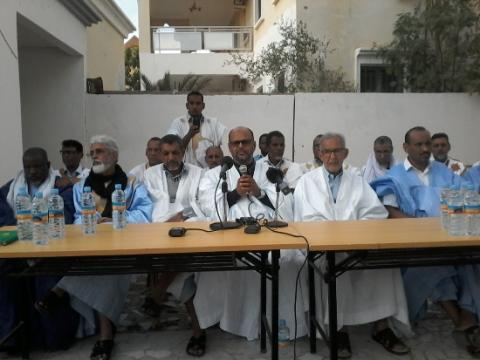 قادة المجموعة خلال مؤتمرهم الصحفي
